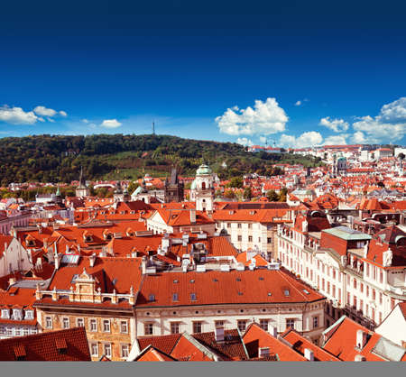 Aerial view of Old Prague from Astronomical Clock Tower