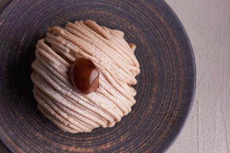confiserie: French traditional Mont Blanc cake with chestnut cream
