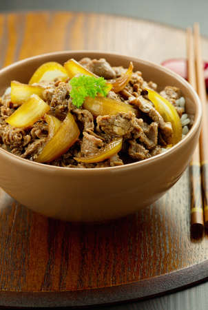 Japanese traditional dish Gyudon made from thinly sliced beef, onion, soy sauce and rice