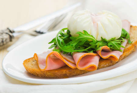 Healthy breakfast with bread, bacon and boiled egg Stock Photo