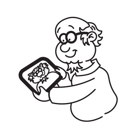 Professor holding a tablet and looking at him Vector
