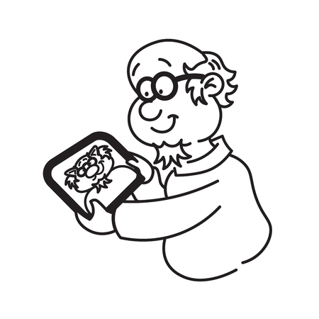 him: Professor holding a tablet and looking at him