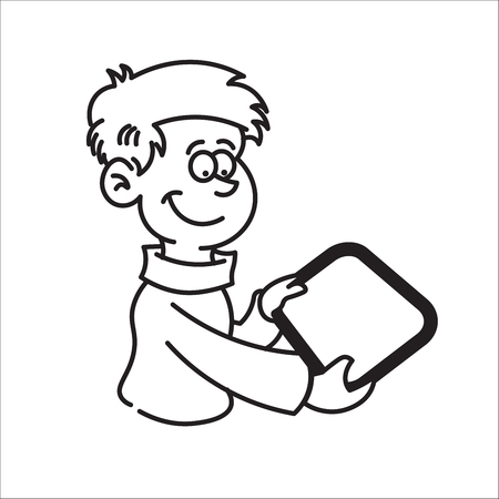 portrait of boy holding a tablet and smiling Vector
