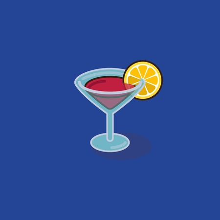 drinking straw: Cocktail glass with lemon and drinking straw - vector illustration