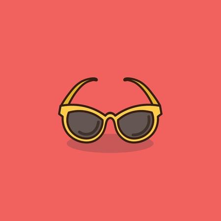 corrective lenses: isolated yellow sunglasses flat icon vector illustration Illustration