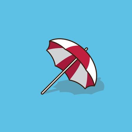 recline: isolated beach umbrella blue background vector illustration Illustration