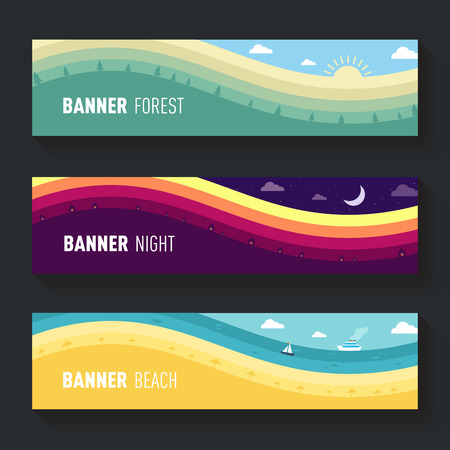 set of landscape scenes banners forest meadow beach Vector