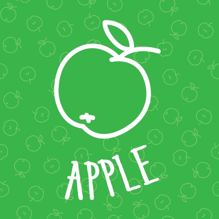 handdraw: Handdraw apple on seamless background pattern Illustration