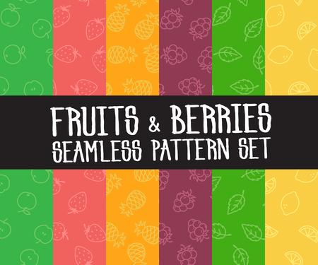 simple: Set of vector simple colorful seamless patterns different fruits Illustration