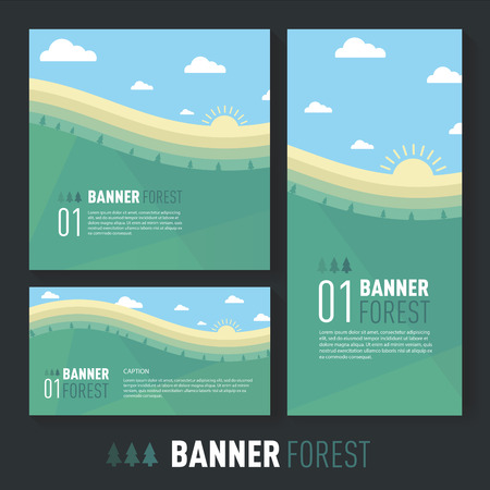 summer landscape. beautiful hill with trees Flat style, vector illustration.