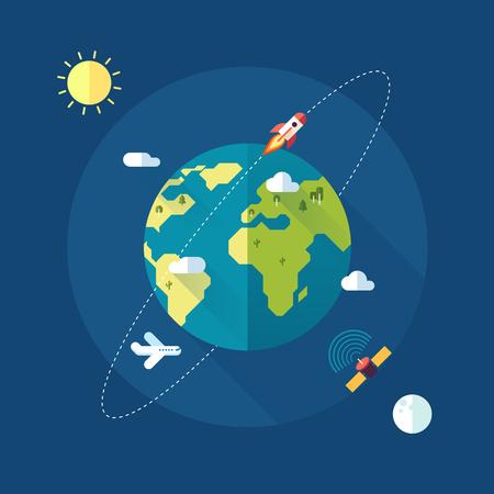 Bandera de la Tierra con el sol, la luna, las estrellas y los cohetes espaciales. Vector
