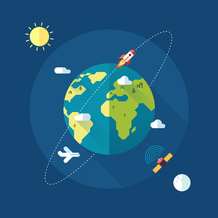 world map: Earth banner with sun, moon, stars and space rocket. Vector