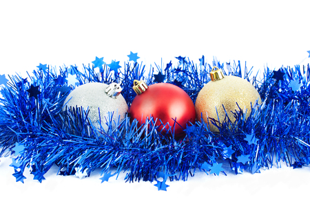 Christmas balls and blue tinsel isolated white background Stok Fotoğraf