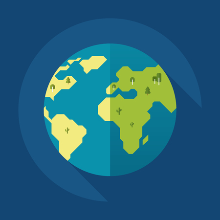 Globe earth with trees icon. Flat style. Vector illustration