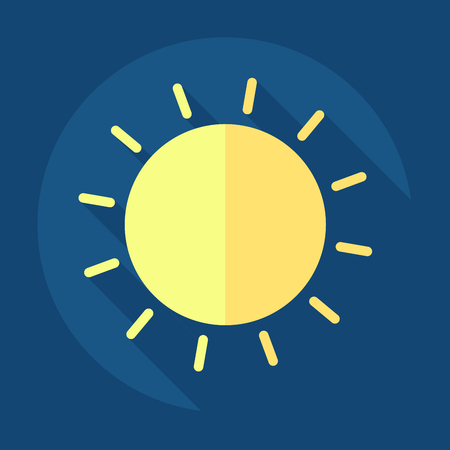 Vector sun icon long shadow blue background