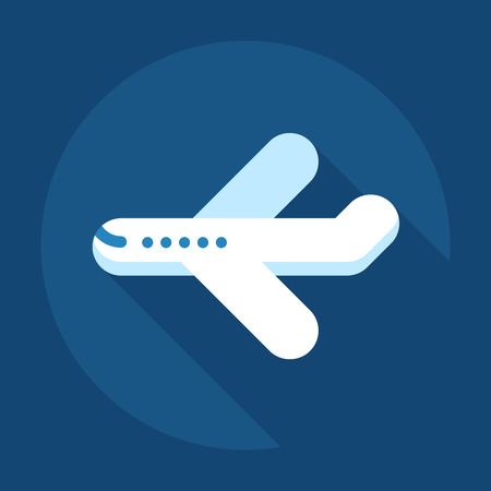 Airplane vector icon flat long shadow illustration Çizim