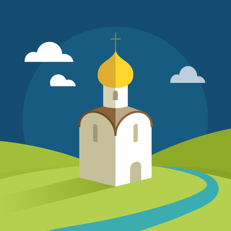 Orthodox Church with gold domes on the background of the rural landscape Illustration