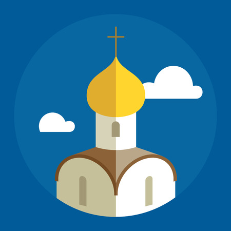 Russian Orthodox Cathedral Church flat illustration.