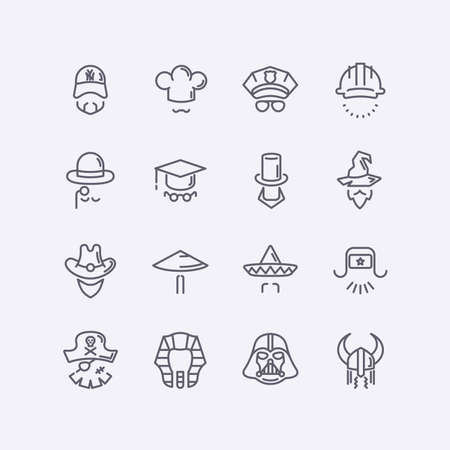 starwars: modern flat design icons characters with different hats, beards, glasses