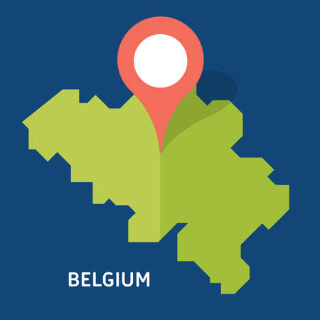 Blank similar Belgium map isolated on blue background. European country. template for website, design, cover, infographics. Graph illustration. Çizim