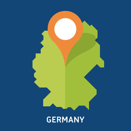 Map of Germany isolated on blue background. European country. Çizim