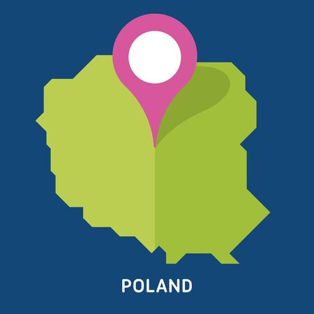 Map of Poland isolated on blue background. European country.