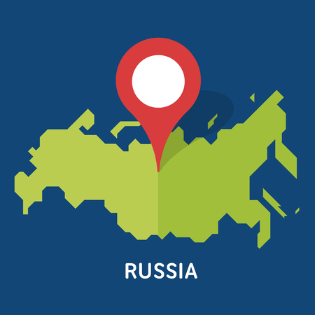 Russian map on white background isolated on blue background. European country.