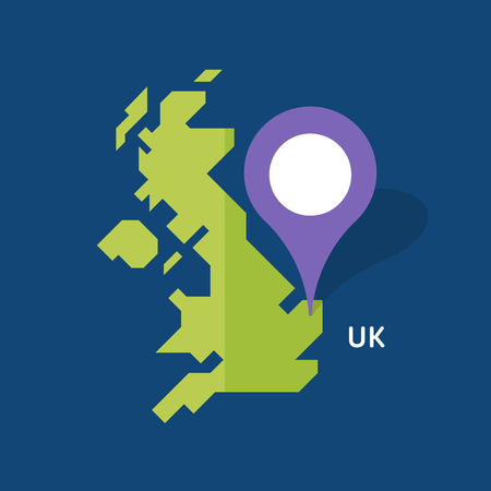 map of united kingdom isolated on blue background. European country.