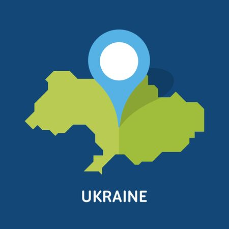 There is a map of Ukraine country isolated on blue background. European country. Çizim