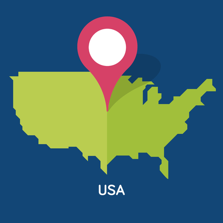 Modern Map of USA isolated on blue background. European country.