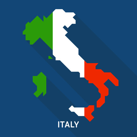 Italy flag map flat icon with long shadow isolated on blue background. European country Çizim