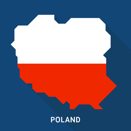 Poland flag map flat icon with long shadow isolated on blue background. European country.