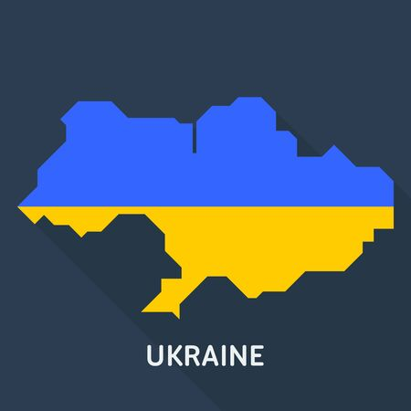 Map and flag of Ukraine country isolated on blue background. European country. Çizim
