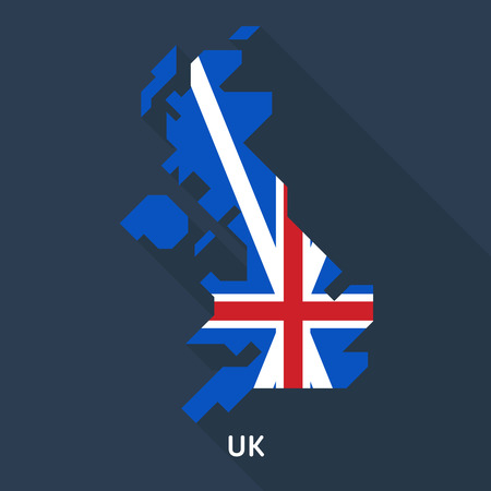 map and flag of united kingdom isolated on dark blue background. European country.
