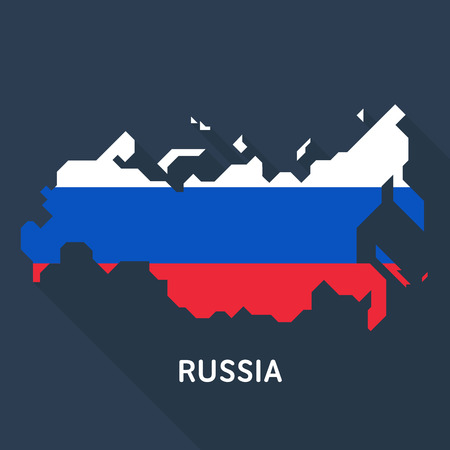 Russian map and flag isolated on dark blue background.