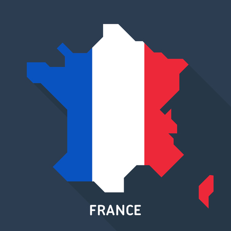 Map and flag of France isolated on blue background with long shadow. European country. Çizim