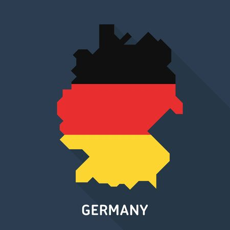 east berlin: Map and flag of Germany isolated on blue background with long shadow. European country.