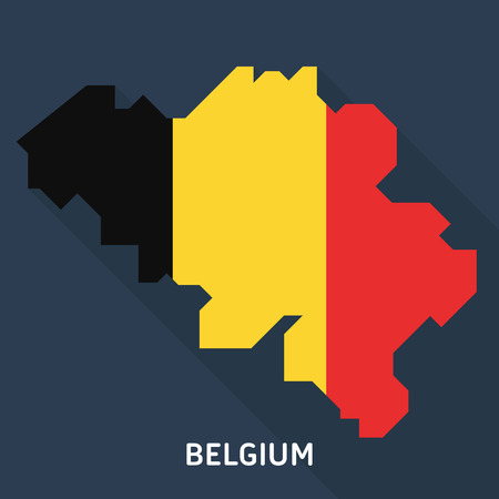Country shape outlined and filled with the flag of Belgium isolated on blue background. European country.