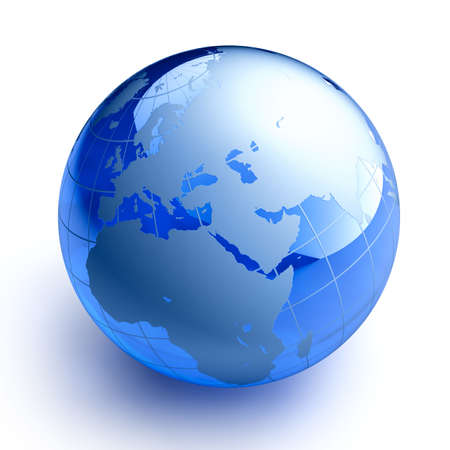glowing earth: Glass Globe on white background Stock Photo