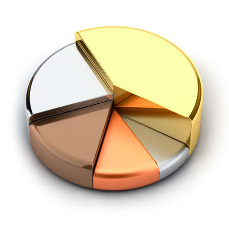 bar charts: Pie chart, made of different metals - gold, silver, bronze, copper, lead Stock Photo