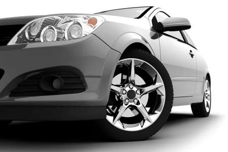 Car front bumper, light and wheel on white. Detail photo