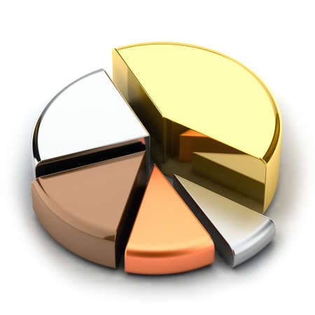 tarts: Pie chart, made of different metals - gold, silver, bronze, copper, lead Stock Photo