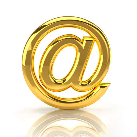 electronically: Golden email sign. Front view Stock Photo