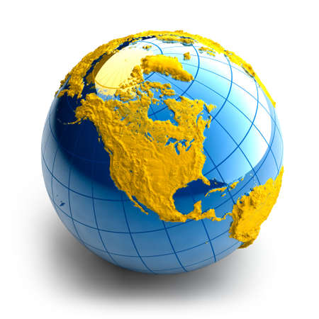 Globe of the Earth with relief continents on white background Stock Photo - 6047636