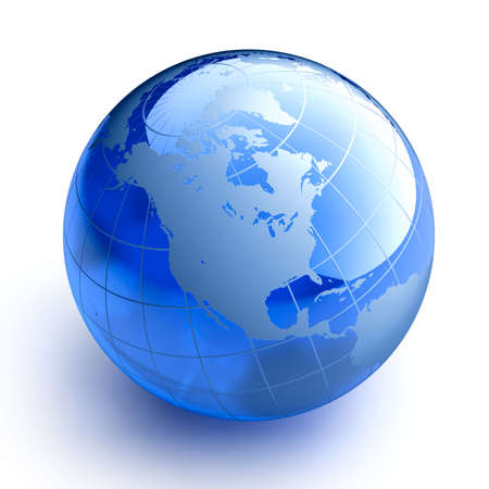 west usa: Blue glass globe on white background