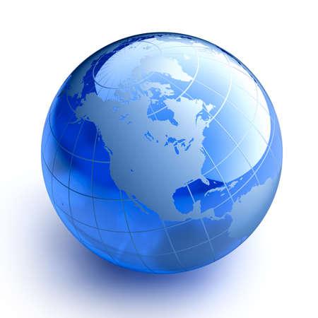 blue globe: Blue glass globe on white background