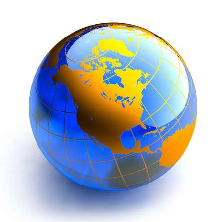 Blue glass globe on white background Stock Photo - 6054020