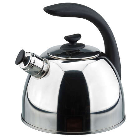 Metal teapot on a white background. Vector clipping path. photo