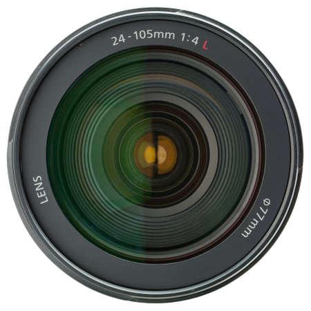 camera lens: Camera lens geïsoleerd op witte achtergrond Stockfoto