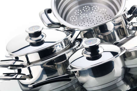 Piece set of saucepans, stainless steel